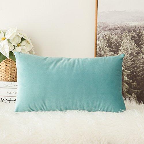MIULEE SAMT Kissenbezug Kissenhülle Dekorative Dekokissen mit Verstecktem Reißverschluss Sofa Schlafzimmer Auto 12x 20 Inch 30 x 50 cm 1 Stück Knickentengrün -