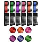 WOSTOO Tiza de Pelo, 6 Colores Peine de Tiza de Pelo Temporal Cabello Tiza Color Set Tinte no tóxico Color de Tiza para niñas y niños Pelo teñido, Fiesta, Navidad y Cosplay