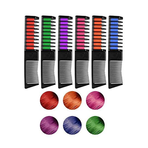 WOSTOO Tiza de Pelo, 6 Colores Peine de Tiza de Pelo Temporal Cabello Tiza Color Set Tinte no tóxico Color de Tiza para…