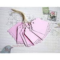 étiquette kraft rose - 6 x 4.5 cm - lot de 10 étiquettes américaine rectangulaire bapteme baby shower mariage naissance fête tag label