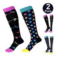 Zingso Compression Socks for Women Ladies, 2 Pairs Sports Nursing Pregnancy Recovery Varicose Veins Running Travel Stylish Knee-High Designed Flight Compression Socks Stockings, 20-30 mmHg