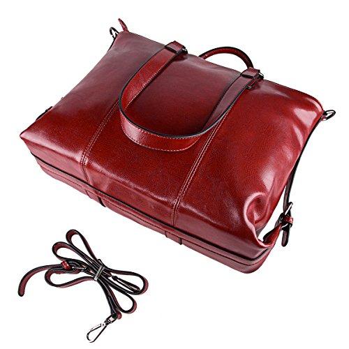 S-ZONE Sacchetto del messaggero della borsa della spalla del computer portatile di Tote di lavoro del cuoio genuino del computer portatile da 14 pollici delle donne di (cuoio-nero di grano) C-Vino rosso