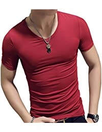 YFF Camiseta de Verano Para Hombre con Cuello EN V de Manga Corta con Cuello EN