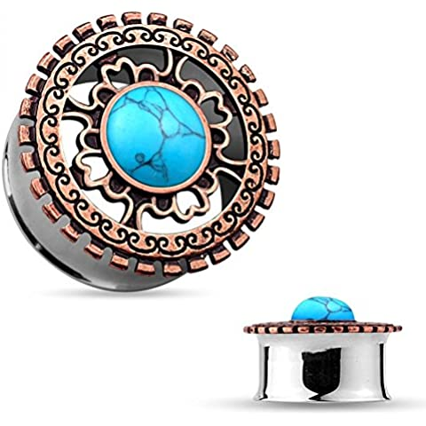 Plug–in speciale acciaio–Double Flared–Turquoise Stone Center bronzo