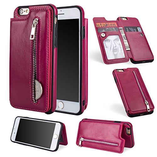 Shinyzone Reißverschluss Brieftasche Handyhülle für iPhone 6S Plus,iPhone 6 Plus Hülle mit Kartenfächer [Magnetische Schnalle] Retro Premium PU Ledertasche Flip Schutzhülle-Rose Rot Apple Iphone Premium Holster