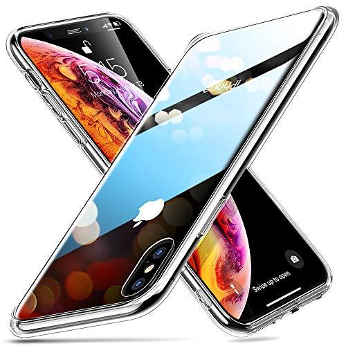 ESR Coque iPhone XS, Coque Transparente avec Revêtement Arrière en Verre Trempé, Bords Couvrants en Silicone TPU Souple, Bumper Housse Etui de Protection pour iPhone X(2017) iPhone XS (2018)