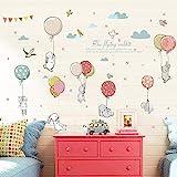 ملصق حائط بتصميم أرانب وبالونات لديكور غرف ورياض الاطفال والغرف الصفية والخلفيات وديكور المنزل