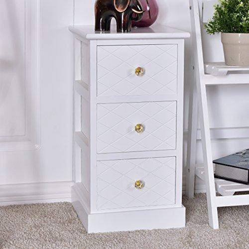 COSTWAY Schubladenkommode Nachttisch Nachtkommode Nachtkonsole Nachtschrank Beistellschrank Beistelltisch Flur-Kommode Badschrank mit 3/4 Schubladen (3 Schubladen)