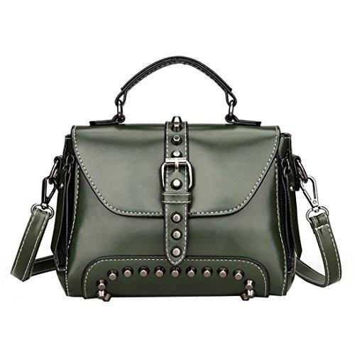 Malloom® Retro Damen Nieten Leder Schultertasche mit Umhängetasche & Handtasche Frau Vintage Nietenleder Griff Schulter Umhängetasche (grün) -