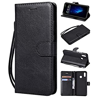 Amcor Love Leather Wallet Flip Case for Huawei P20 Lite with Card Slots, Stand Function and Magnetic Tab