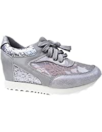 fashionfolie Basket compensées montante dentelle femme chaussure fille lacet  strass mode 6808 GRIS 73aa289af0aa