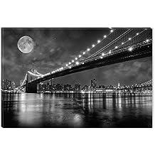Startonight Cuadro sobre Lienzo en Blanco y Negro Puente de Brooklyn, Impresion en Calidad Fotografica Enmarcado y Listo Para Colgar Diseño Moderno Decoración Formato Grande 60 x 90 CM