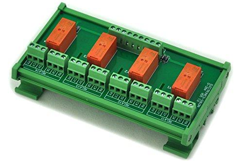 Electronics-Salon Montage sur rail DIN Passif bistable / à verrouillage 4 Module de relais de puissance DPDT 8A, 5V Ver.