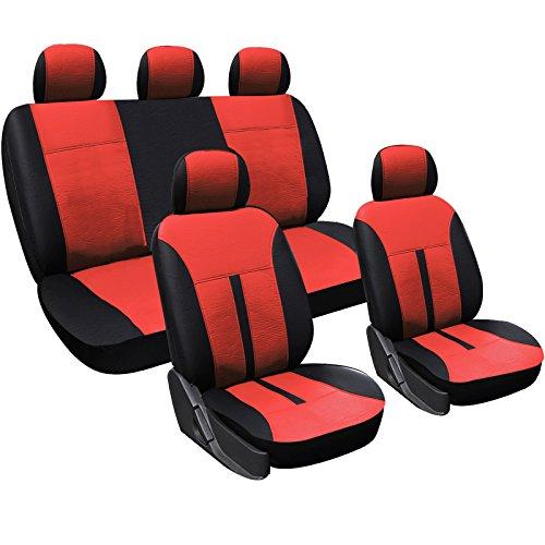 WOLTU AS7291 Set Completo di Coprisedili per Auto Seat Cover per Macchina Universali Protezione per Sedili Similpelle Bordeaux+Nero