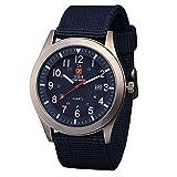 Orologio uomo Zeiger Orologio da polso da uomo Orologio Sports Militar cinturino in Nylon calendario semplice stile orologio regalo per l'uomo Blu UK-W284-FBA