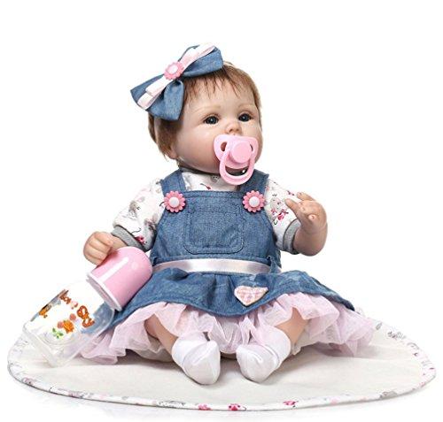 ZIYIUI Reborn muñecas Baby Reborn munecas niños Bebe 18 Pulgadas 45 cm Bebes para niñas niña muñeca muñecos realistas Recien Nacidos Ojos Abiertos bebés Reborn de Silicona Doll
