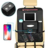 Foonee Backseat Organizer con 4 Porte di Ricarica USB, Oxford Tessuto Kick Mat Car Backseat Protector per I Bambini, con Borsa Porta iPad Chiaro