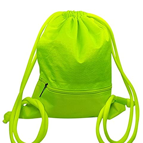 Coolzon® Drawstring Bag Backpack Gym Sack Sport Duffle Travel Tote Shoulder Bags School Rucksack with Large Zip Pocket for Teens Adults 43x35cm/ 16.9