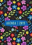 Agenda: Semainier - Grand Format A4 - Motifs Fleurs Mauve Rose Noir - Calendrier Janvier à Décembre