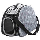 JEELINBORE Praktisch Schön Transporttasche Atmungsaktiv Transportbox Tragekorb für Katzen Hunde für Reisen (Grau, M)