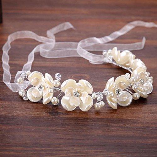 Cinta de flores perladas y gasa para peinados novia