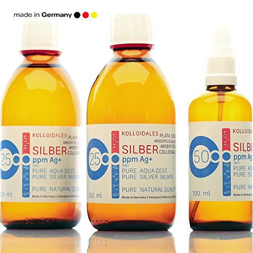 PureSilverH2O Kolloidales Silber 600ml (2 * 250ml 25ppm) & Spray 100ml 50ppm Silberwasser 100{64bbc568472504b1cf8658586202e07721b0cf7fdb32f3ef082b76e5ad7d9304} frisch & effektiv