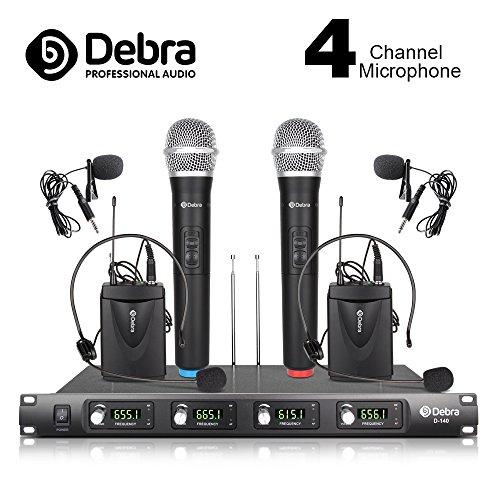 Debra Audio D-140 UHF 4 Kanal Kabelloses Mikrofonsystem mit 2 und 2 Lavalier und 2 Headset Mic für die Phase Familienfeier, Kirche, kleine Karaoke-Nacht (EU Plug)