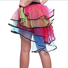 Pixnor Mujeres sexy fiesta granadina colorido 4 capas de tul Tutu Falda de la danza