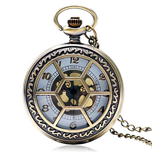 Taschenuhr mit Hohlgehäuse, Skelett-Design, sechseckig, Taschenuhr, für Herren und Damen, einzigartiges Geschenk für Halloween