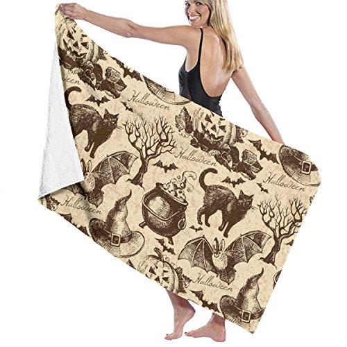xcvgcxcvasda Beach Towels Decor Premium Polyester Fiber Super Absorbent Soft Cat Bat Pumpkin Halloween Party Pattern Soft, High Absorbent, Eco-Friendly Printed Badetuch,Quick Dry 31.5