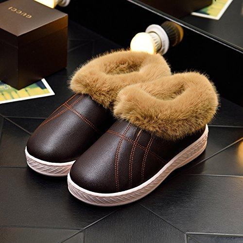 DogHaccd pantofole,Inverno pelle pu di spessore, antiscivolo soggiorno impermeabile home scarpe di cotone uomini e donne paio di pantofole di cotone confezione con scarpe di peluche Colore solido marrone3