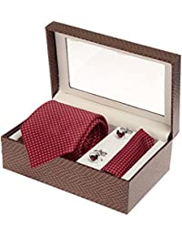 Sir Michele Designer Red Micro Silk Tie, Pocketsquare and Cufflink Set