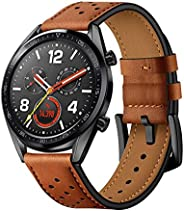 Compatible Samsung Galaxy 46mm/Huawei Watch GT Watch Bands, 22mm Genuine Leather Replacement Buckle Strap Comp