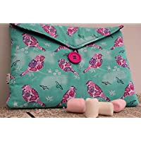 Pretty Mint and Plum Birds Print Tablet or Laptop Bag