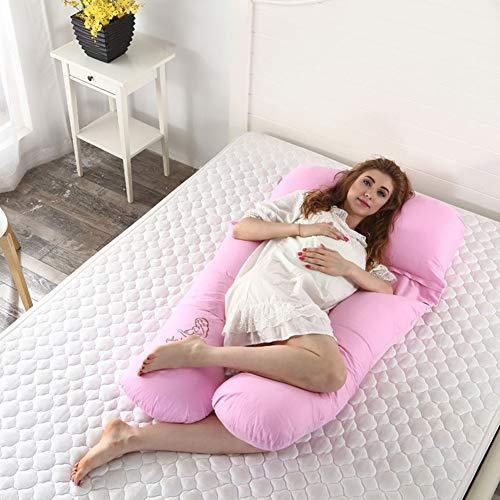 K&G Coussin De Grossesse - Allaitement Complet du Corps Et Coussin De Maternité en U pour L'allongement Latéral avec Une Housse Lavable en Coton De Luxe, Dos, Ventre Et Jambes (140cm X 80cm),Pink