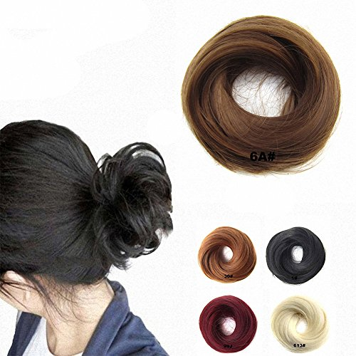 FESHFEN, Haarteil / Pferdeschwanz, Haarteil-Haargummi, Haarverlängerung, elastisch, Pferdeschwanz / Dutt, schwarz