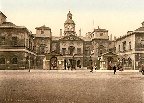 Vintage Photography Whitehall guardie di cavallo, Londra C1890da 250gsm lucido arte della riproduzione A3poster
