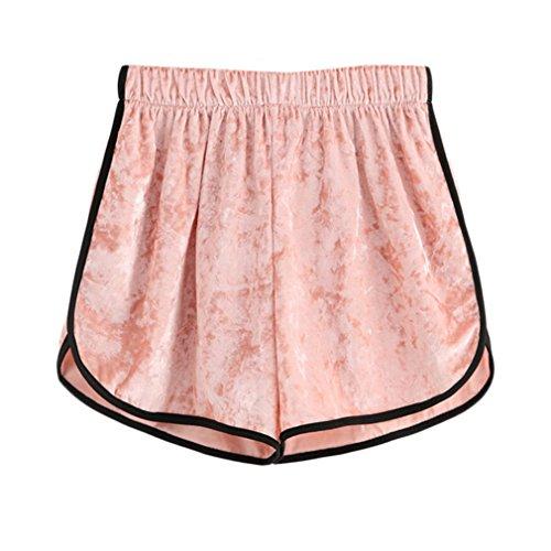 Kontrast-trim-taste (Jianyin Rosa Kontrast Trim Elastische Taille Samt Shorts Frauen Hohe Taille Lose Shorts Casual Shorts Für Damen Pink XL)