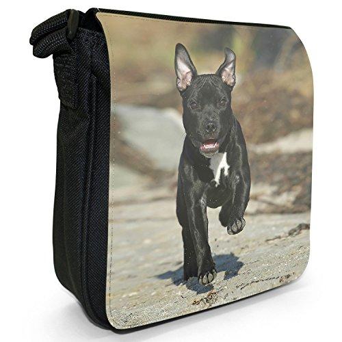 Staffordshire Bull Terrier Staffy personale Dog-Borsa a tracolla in tela, piccola, colore: nero, taglia: S Nero (Black Staff Running To Play)