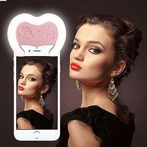 Reacher 38 LED de luz del anillo suplementario autofoto con espejo de maquillaje y diseño en forma de corazón para la fotografía con el iPhone y los teléfonos inteligentes Android (Rosa)