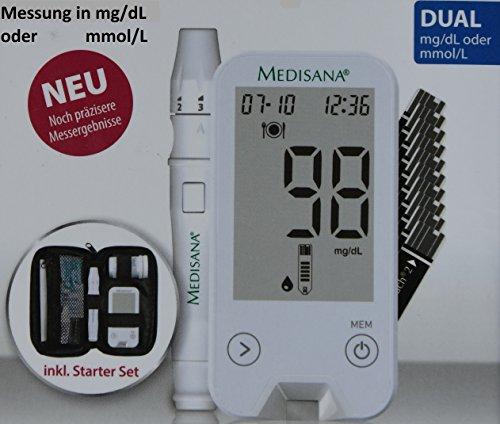 Diabetes Mellitus? MediTouch 2 Dual von Medisana. Blutzuckermessgerät misst in mg pro dl und mmol pro l. Starterset inkl. Teststreifen, Lanzetten, Stechhilfe u.v.m.