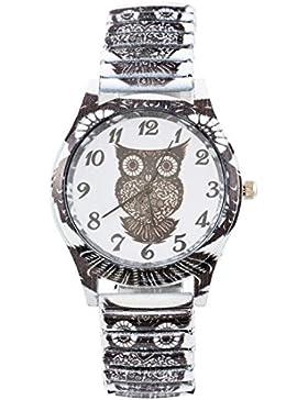 Souarts Damen Schwarz Federkraft Quartzuhr Eule Analog Armreif Uhr mit Batterie