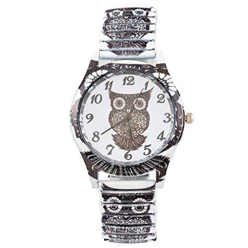 Souarts Damen Schwarz Federkraft Quartzuhr Eule Analog Armreif Uhr mit Batterie Edelstahl Armband Armbanduhr (Schwarz)