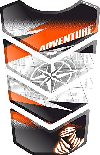 Motorrad Gas Displayschutzfolie Aufkleber/3D Gummi Fuel Tank Pad Tankpad Displayschutzfolie Aufkleber für Honda KTM 1050 1090 1190 1290 Adventure AdventureR R Adventure-R (Weiß/Schwarz/Orange 2)