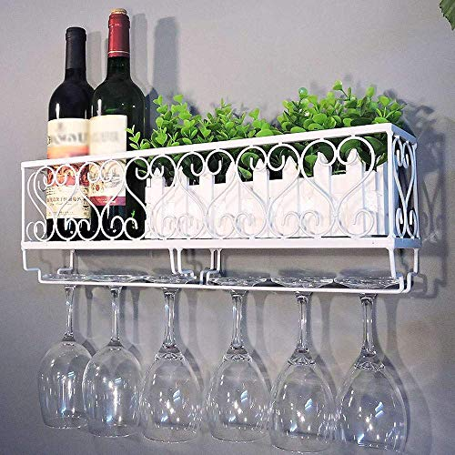 DYOYO Metal Black Wall Hanging Mounted Wine Champagne Glass Goblets Stemware Rack Holder Hold Up to 6 Bottles Wine and 6 Cups Glasses for Bar Kitchen,White