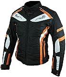 Heyberry Damen Motorrad Jacke Motorradjacke Textil Schwarz Orange Gr. L