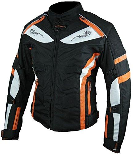 Heyberry Damen Motorrad Jacke Motorradjacke Textil Schwarz Orange Gr. S / 36