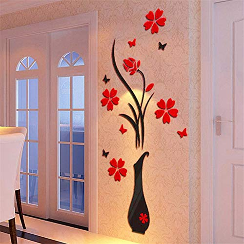 Liike Wandaufkleber DIY Vase Flower Tree 3D Wall Stickers Decal Home Decor Wallpapers for Livingrooms Kitchen Decorations