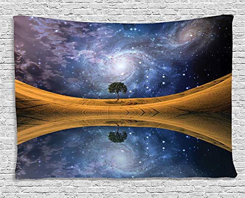 VTXWL Space Tapestry Decor, Surreal Single Tree on Galaxy with Stars Meteors Unusual Sci Fi Panorama Print, Wall Hanging for Bedroom Living Room Dorm, 80 W X 60 L Inches, Brown Purple Blue -