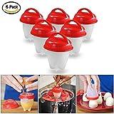 RX 6er Eierkocher Egg Cooker Egg Boiler Eierformer Eierbecher Hartgekochte Eier Ohne Schale Antihaft-Silikon BPA-frei Hard & Soft Maker